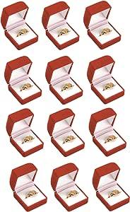 888 显示美国 2 或 6 黑色或红色植绒戒指礼品盒珠宝展示 红色 FQ3R