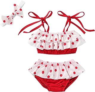 婴儿女婴泳装红色条纹连身衣连体泳衣比基尼套装