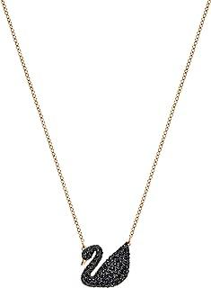 Swarovski iconic Swan 吊坠,黑色,玫瑰镀金