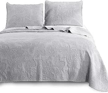 kasentex 家用纺织品刺绣奢华石水洗软 Natural 棉质洗 ABLE 被子枕套毛毯床上套件单人全单大号双人床中号双人床尺码怀旧设计纯色