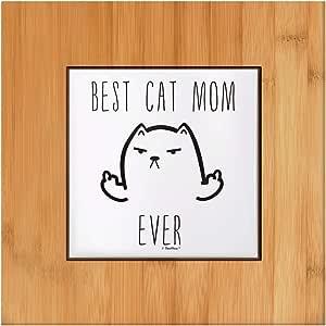 有趣的猫咪礼物送给妈*好的猫妈妈妈妈妈妈妈妈妈妈妈妈礼物瓷砖和木制三脚架 1-包每包 1 条