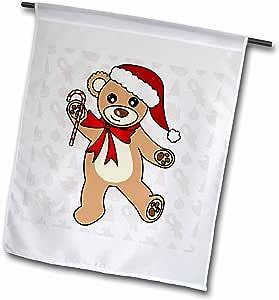 janna salak 设计泰迪熊–圣诞可爱跳舞棕色泰迪熊带圣诞帽–旗帜 12 x 18 inch Garden Flag