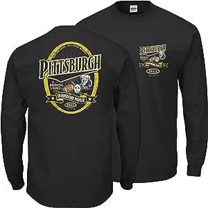 匹兹堡足球迷。 Pittsburgh A Drinking Town with A Championship Problem 黑色 T 恤 (SM-5X)(长袖,4XL)