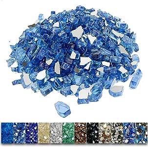 Grisun 火盆火玻璃,1/2 英寸(约 1.3 厘米)高光泽反光钢化玻璃岩石,适用于天然或丙烷壁炉 Pacific Ocean Blue