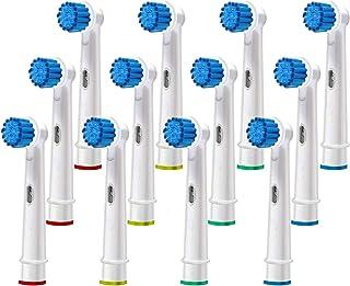替换刷头兼容Oral B – 敏感牙龈护理电动牙刷头 – 12 Oralb Braun Sensitive Clean 刷头 – 兼容Oral-b 7000、Pro 1000、9600、500、3000、8000 和 Mor