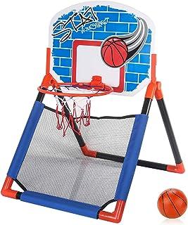 AMOMO Slam Dunk 迷你篮球框套装 - 2 合 1 室内塑料玩具(40.64 厘米 x 30.48 厘米篮板)带球和网和气泵简单组装,悬挂游戏,适合儿童或男孩