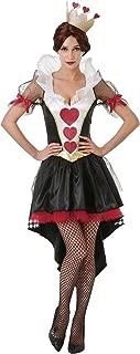 Queen of Hearts 女式万圣节服装 - 红色卡裙和皇冠