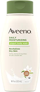 Aveeno 艾维诺 日常保湿酸奶沐浴露,适合干性肌肤,舒缓燕麦和香草香味,温和沐浴露,18液体盎司/532毫升(3件装)