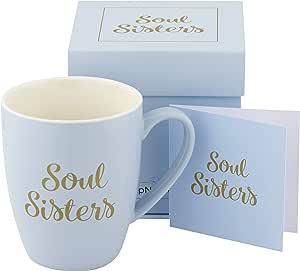 SipNBloom 出品的励志咖啡马克杯,送给女性的励志礼品,优雅包装盒,带卡片和信封,耐用中国,可用洗碗机清洗,可微波加热 蓝色
