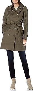 London Fog 女式雙排扣風衣,可拆卸兜帽