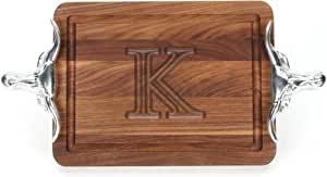 """CHUBBCO W200-SLH-K Thick Bar/Cheese Board with Longhorn Cast Aluminum Handle, 9-Inch by 12-Inch by 3/4-Inch, Monogrammed """"K"""", Walnut"""