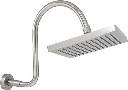 """MODONA 25.4 厘米雨淋浴头和 S 英寸长淋浴臂带法兰 - 5 年保修 8"""" Square - Satin Nickel AC42SH05-A"""