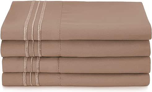Clara Clark Premier 1800 系列枕套套装,特大号,杏黄橙色 灰褐色 4 King kit_2pk_plwcas3lcck_tpsnd