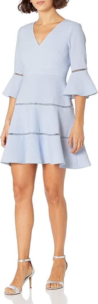 Eliza J 女式小款 V 领 喇叭袖修身喇叭裤 浅蓝色 4 Petite