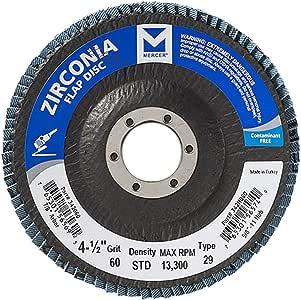 "Mercer Industries 342060 Type 294-1/2""x 7/8"" Grit 60 Zirconia Flap Disc (10 Pack)"