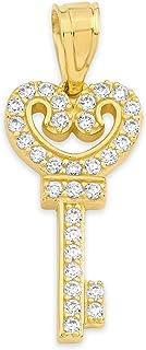 10k 纯金钥匙坠饰带方晶锆石,浪漫珠宝获取心形符号魅力礼品