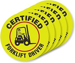 "SmartSign""认证叉车司机""5 个硬质帽子标签 | 复古反光,5.08 cm 圆圈"