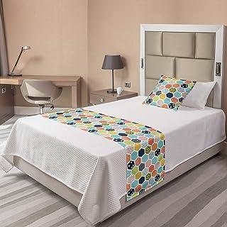 Lunarable 多色床巾 Aqua Coral 两个 bedrunset_65444_twin
