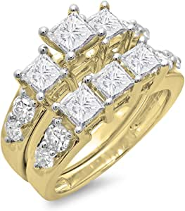 3.10 Carat (ctw) 10K Yellow Gold Princess & Round Diamond 3 Stone Ring Set 3 1/10 CT (Size 7)