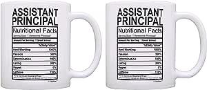 Assistant Principal Nutrional Facts 标签礼物咖啡杯茶杯 白色 11 盎司 43237-2