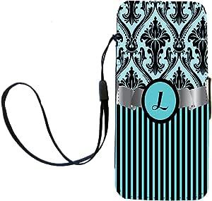 "Rikki Knight 字母""L""字母天蓝色锦缎条纹字母翻盖钱包 iPhone手机壳带磁性翻盖适用于 iPhone 5/5s - 天蓝色"
