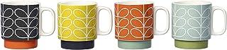 Orla Kiely 70 年代复古风线茎印花陶瓷堆叠马克杯 4 件套