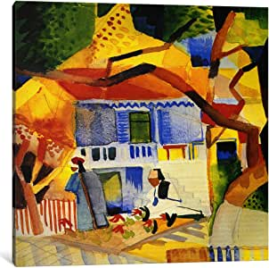 iCanvasART 1503-1PC6 Inner Courtyard of The Country House Canvas Print by August Macke, 1.5 by 18 by 18-Inch