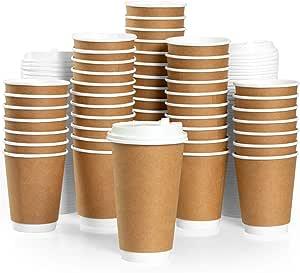 To Go 咖啡杯 - 12 或 16 盎司双壁纸杯 50 只装 16 盎司 IL-DWCC16-50