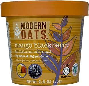 现代燕麦芒果 BlackBerry oatmeal 4盎司12支装 gluten 免费出品非转*整粒面皮革 vegan 以及犹太无 known allergens