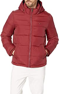 TOMMY HILFIGER 男式隔热 midlength 夹棉棉衣夹克带固定罩