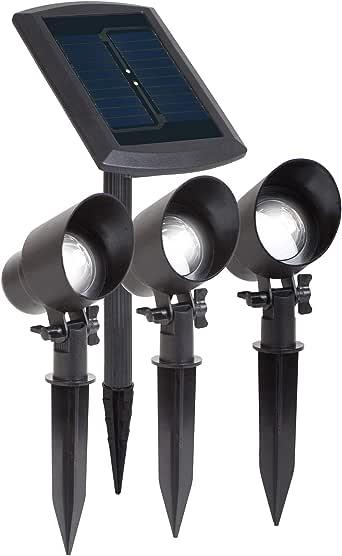Duracell 太阳能花园LED射灯,15流明聚光灯,黑色塑料表面(3件装)