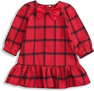 女婴幼儿女童冬季秋季衣服红色格子连衣裙荷叶边装饰蝴蝶结芭蕾舞短裙套装