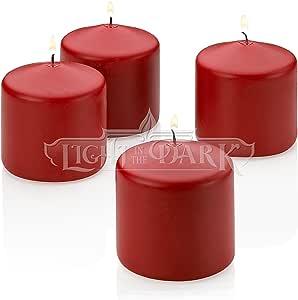 4 种香型柱状蜡烛 7.62 cm 高 X 7.62 cm 宽 Red Apple Cinnamon Scented LITD-R-AC-PILLAR-3x3-4