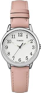 Timex 女士 Easy Reader 皮革表带手表