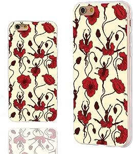 iPhone 6s 手机壳,iPhone 6 手机壳,4.7 英寸 iPhone 6 6s 手机壳,ChiC【优雅系列】*保护纤薄耐用柔软 TPU 手机壳,黄色背景上抽象优雅的蓝色花卉图案0756320454824 funny Ballet dance girl