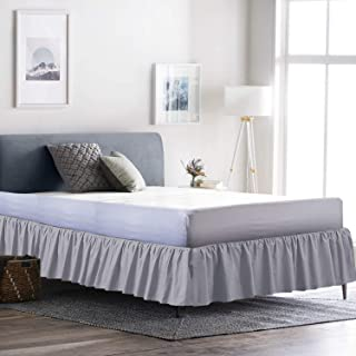 Neem Linen 荷叶边聚拢床裙带盘子,* 涤纶棉,轻松贴身,三面式风格 浅灰色 Full-16 VV-BDSKTGBSKPC-217