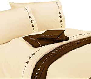HiEnd Accents Embroidered Star Sheet Set, King, Cream