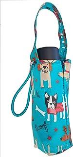 Totes 微型迷你手动紧凑型雨伞,NeverWet 技术,蓝色带彩色狗,小狗,38 英寸(约 96.5 厘米)弧形覆盖范围