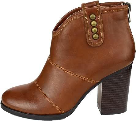 Refresh Footwear 女士铆钉叠层粗跟短靴