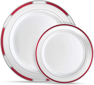 Laura Stein 优雅盘子/碗 Burgundy & Silver 1 Combo Pack, 32 Plates (16 Sets) VTN-PC710-BDS
