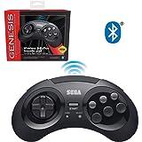 Retro-Bit 官方 Sega Genesis 蓝牙控制器 8 键摇滚游戏垫,适用于 Android、PC、Mac、Amazon Fire TV、Steam - 黑色