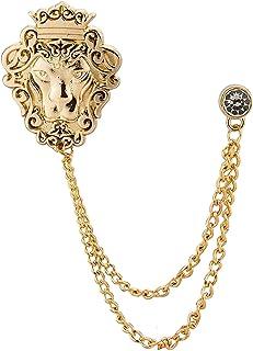 AN KINGPiiN 金色皇冠狮子王 带挂链翻领别针,胸针西装铆钉,衬衫铆钉男士配饰
