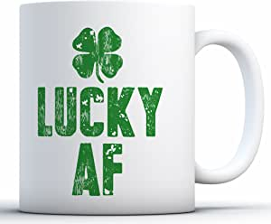 Awkward Styles 圣帕特里克节咖啡杯幸运爱尔兰圣帕特里克节礼物 Lucky Af Green 11 oz