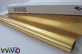 VViViD Gold Brushed Chrome Cast Vinyl Wrap Roll Film Decal Sticker Featuring Air Free Channel Technology (1ft x 5ft)