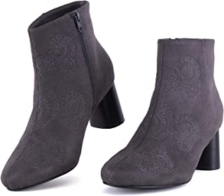 女式尖头粗跟短靴带侧拉链,刺绣印花中跟及踝靴