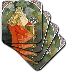 florene–艺术装饰和新艺术–印花 OF Mucha Queen 艺术与鸟–杯垫