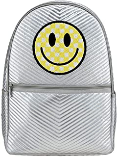 "iscream 柔软蓬松闪亮绗缝 45.72 厘米 x 30.48 厘米学校和旅行背包 带内部笔记本电脑袋 Checkered Smiley Face 18"" x 12.5"""