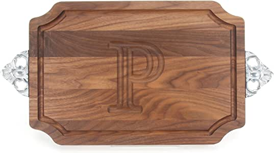"CHUBBCO W310-SC-P Cutting Board with Scalloped Cast Aluminum Handle with Scalloped Corners, 12-Inch by 18-Inch by 1-Inch, Monogrammed ""P"", Walnut"