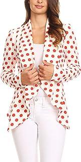 女式纯色印花休闲长袖弹力前开西装夹克/美国制造
