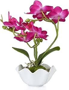装饰人造丝 Phalaenopsis 兰花白色花瓶 红色 中 TB-DECO0597RED